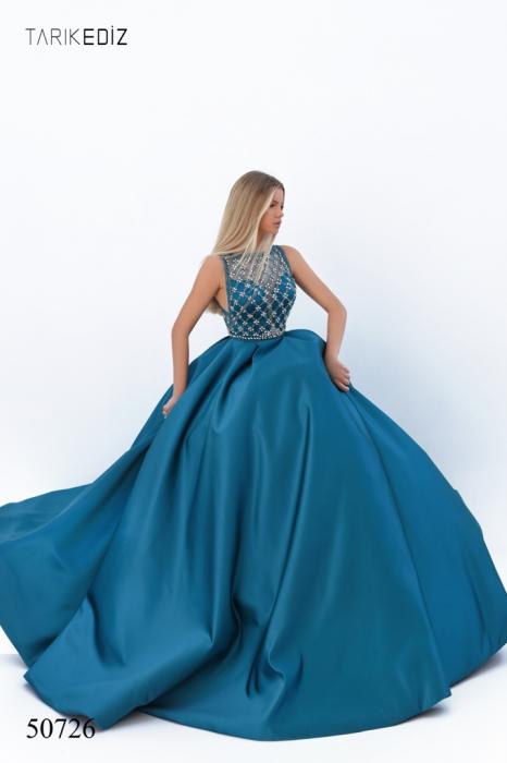 Rochie Tarik Ediz 50726 albastra lunga de seara princess din satin [1]