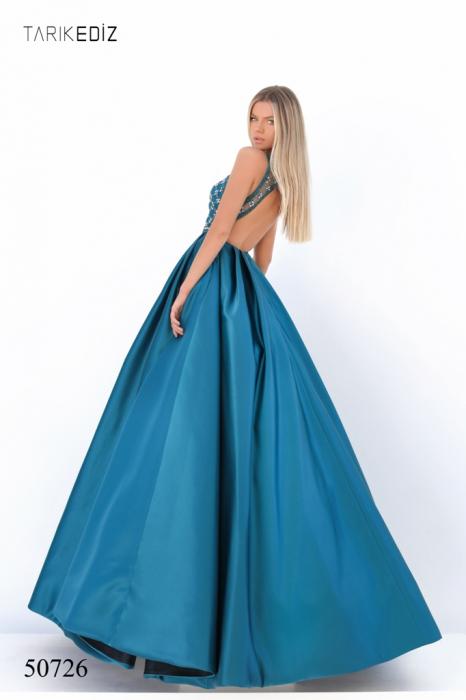 Rochie Tarik Ediz 50726 albastra lunga de seara princess din satin [3]