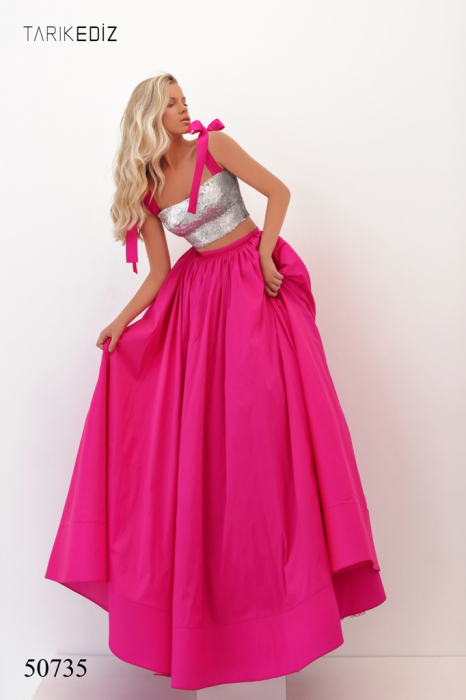 Rochie Tarik Ediz 50735 fuchsia lunga de seara princess din taffeta [1]