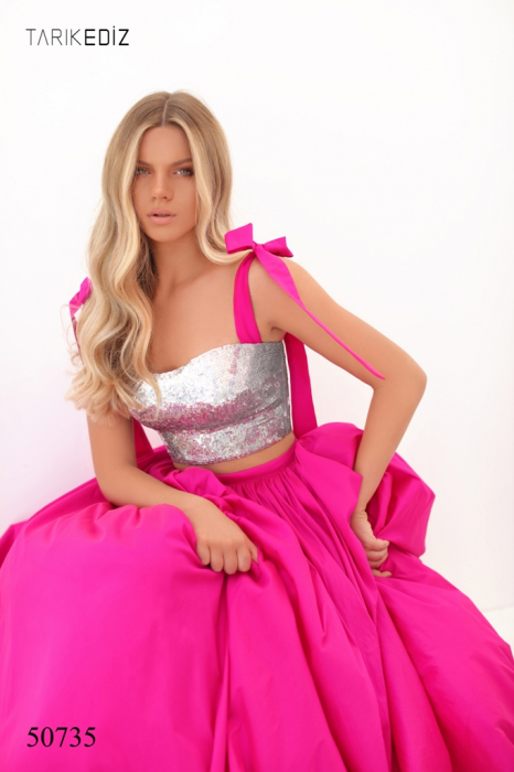 Rochie Tarik Ediz 50735 fuchsia lunga de seara princess din taffeta [3]