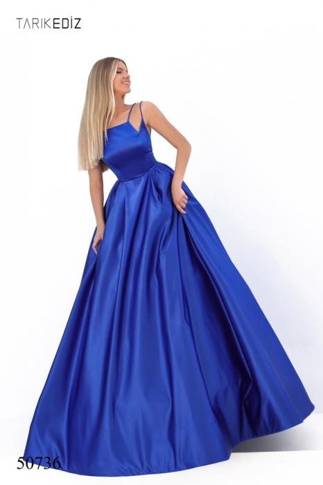 Rochie Tarik Ediz 50736 albastra lunga de seara princess din satin 0