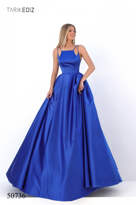 Rochie Tarik Ediz 50736 albastra lunga de seara princess din satin 1