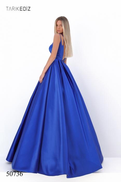 Rochie Tarik Ediz 50736 albastra lunga de seara princess din satin 2