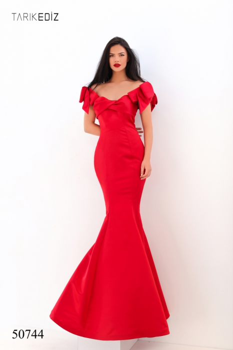 Rochie Tarik Ediz 50744 rosie lunga de seara sirena din satin [0]