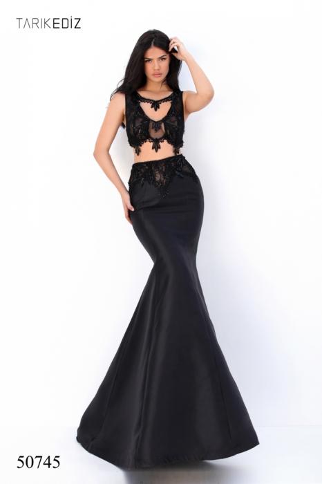 Rochie Tarik Ediz 50745 neagra lunga de seara sirena din taffeta 0
