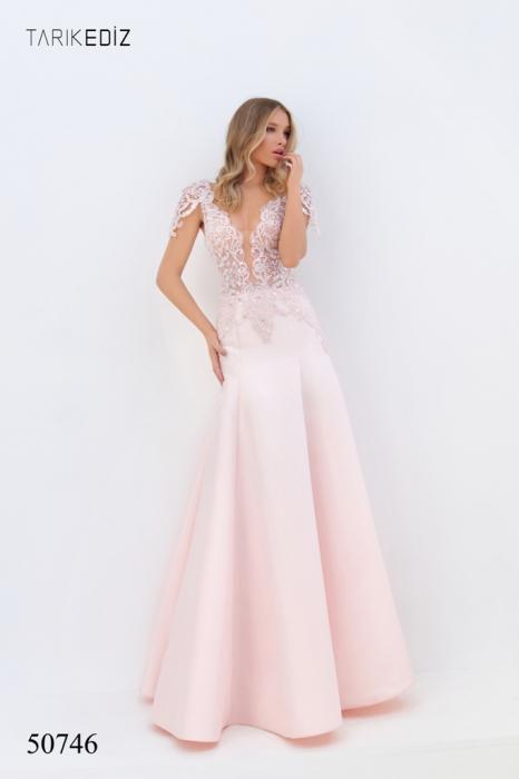 Rochie Tarik Ediz 50746 roz lunga de seara A-line din taffeta 0