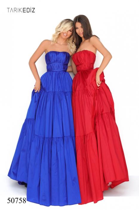Rochie Tarik Ediz 50758 rosie/albastra lunga de seara princess din taffeta 0