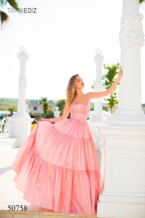 Rochie Tarik Ediz 50758 roz lunga de seara princess din taffeta [0]