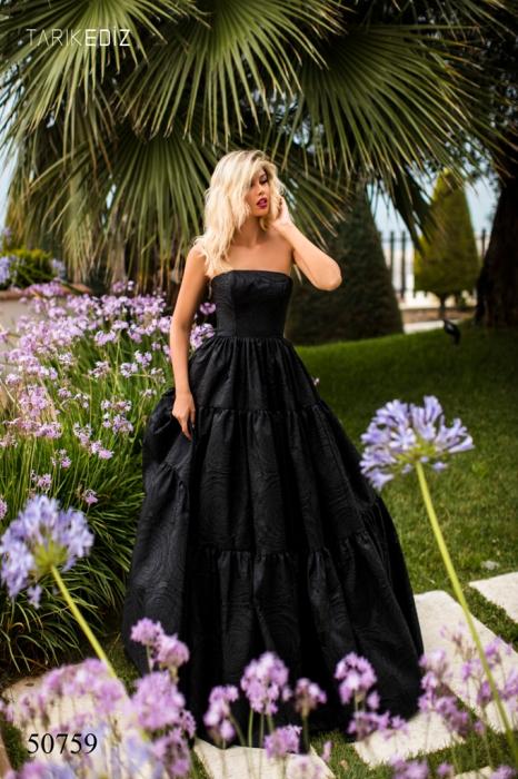Rochie Tarik Ediz 50759 neagra lunga de seara princess din jacquard 0