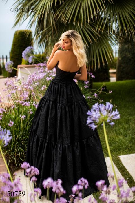 Rochie Tarik Ediz 50759 neagra lunga de seara princess din jacquard 1