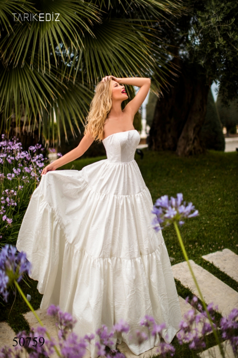 Rochie Tarik Ediz 50759 crem lunga de seara princess din jacquard 0