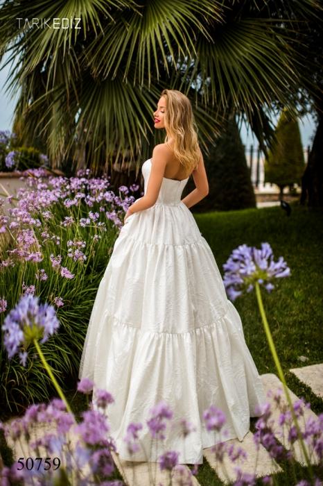 Rochie Tarik Ediz 50759 crem lunga de seara princess din jacquard 1