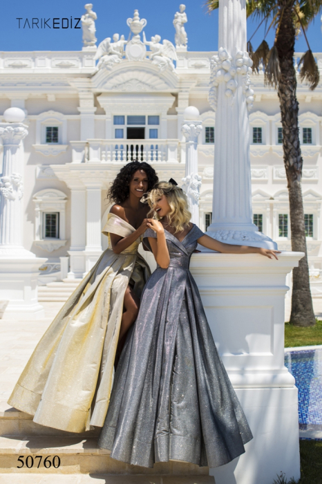 Rochie Tarik Ediz 50760 argintie lunga de seara princess din glitter 0