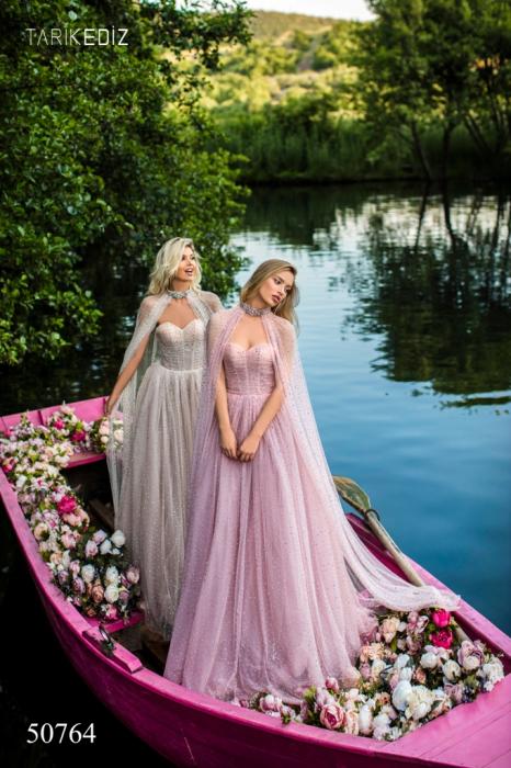 Rochie Tarik Ediz 50764 roz lunga de seara clos din tulle 1