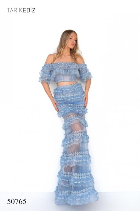 Rochie Tarik Ediz 50765 bleu lunga de seara sirena din tulle 0