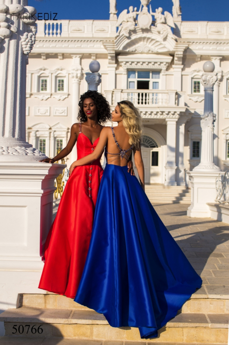 Rochie Tarik Ediz 50766 bleumarin lunga de seara princess din taffeta 4