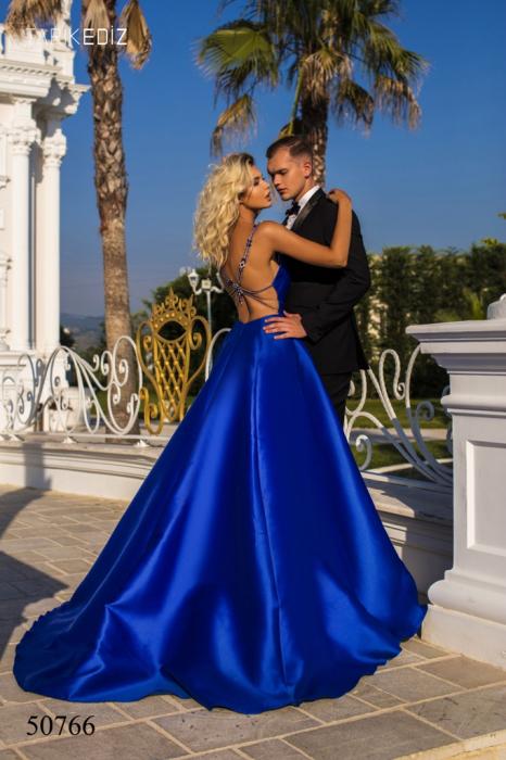 Rochie Tarik Ediz 50766 bleumarin lunga de seara princess din taffeta 1