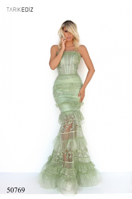 Rochie Tarik Ediz 50769 verde lunga de seara sirena din tulle 0