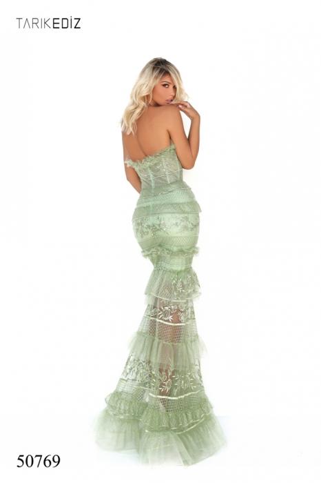 Rochie Tarik Ediz 50769 verde lunga de seara sirena din tulle 1