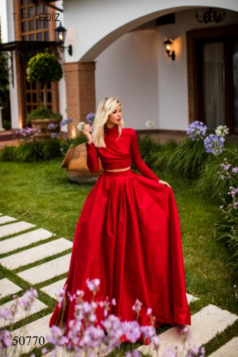 Rochie Tarik Ediz 50770 rosie lunga de seara princess din taffeta 0