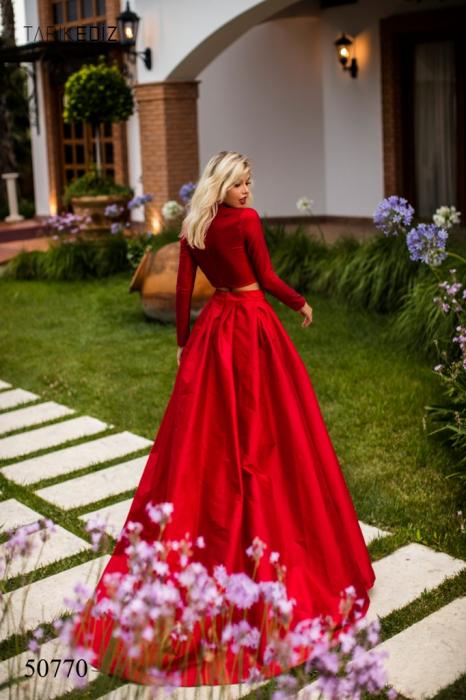 Rochie Tarik Ediz 50770 rosie lunga de seara princess din taffeta 1