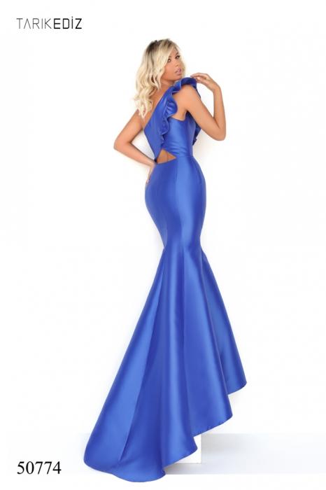 Rochie Tarik Ediz 50774 albastra lunga de seara sirena din taffeta [1]