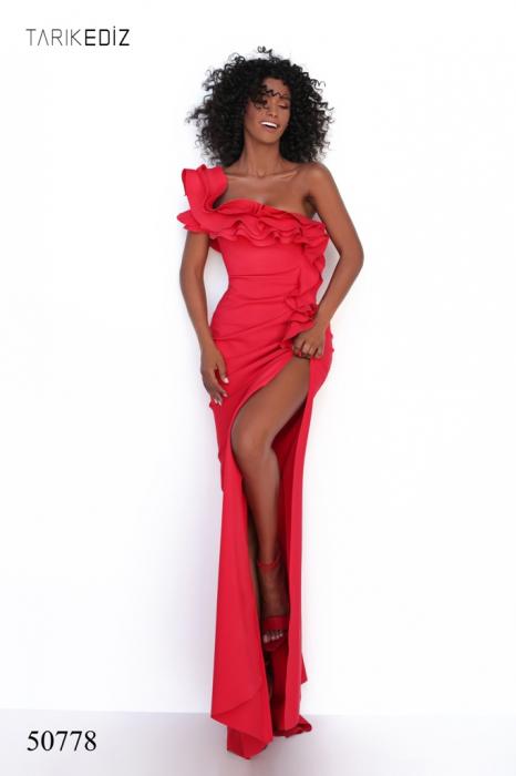 Rochie Tarik Ediz 50778 rosie lunga de seara mulata din corset 0