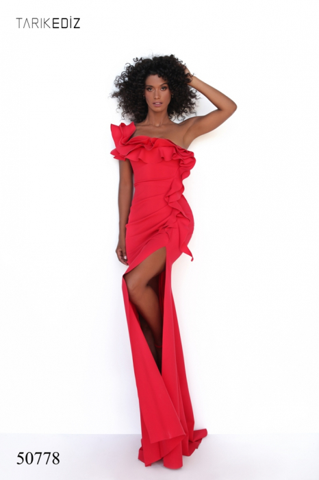 Rochie Tarik Ediz 50778 rosie lunga de seara mulata din corset 1