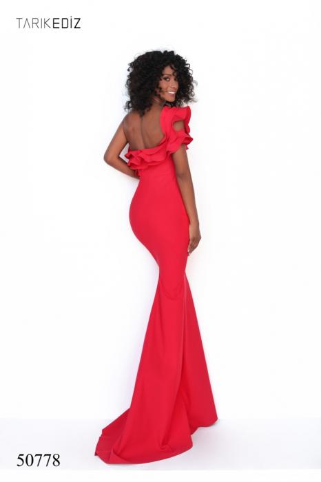 Rochie Tarik Ediz 50778 rosie lunga de seara mulata din corset 2