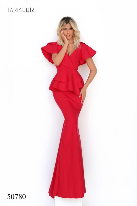 Rochie Tarik Ediz 50780 rosie lunga de seara sirena din corset 0