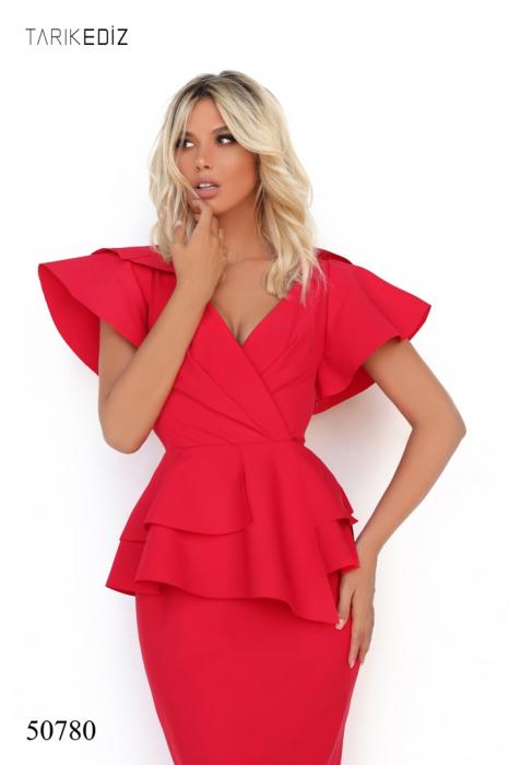 Rochie Tarik Ediz 50780 rosie lunga de seara sirena din corset 1
