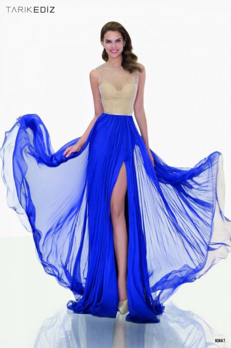 Rochie Tarik Ediz 92667 albastra lunga de seara in clos din voal 0