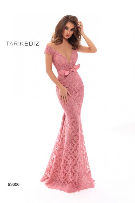 Rochie Tarik Ediz 93606 rosie lunga de seara tip sirena din dantela 0