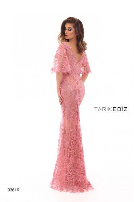 Rochie Tarik Ediz 93616 roz lunga de seara tip sirena din dantela 2