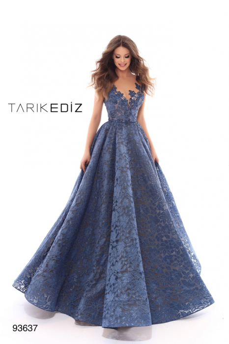 Rochie Tarik Ediz 93637 albastra lunga de seara tip princess din dantela 0