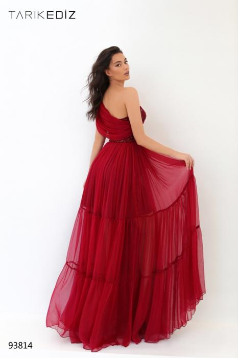 Rochie Tarik Ediz 93814 rosie lunga de seara clos din voal [3]