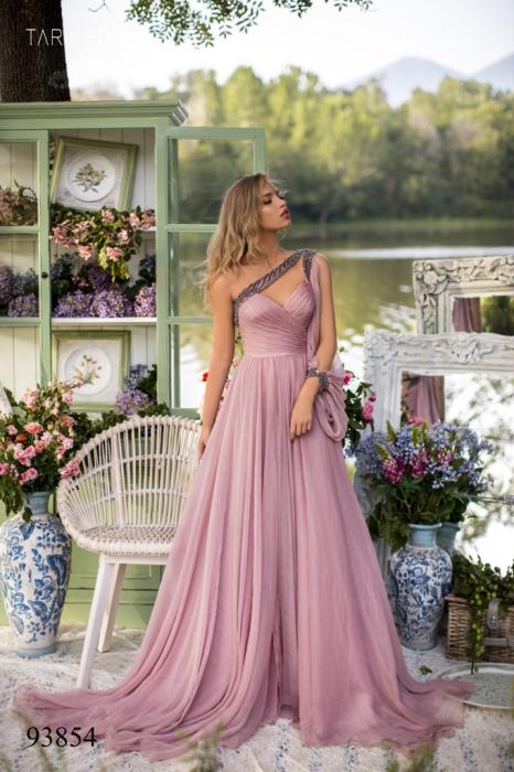 Rochie Tarik Ediz 93854 roz lunga de seara clos din voal [0]