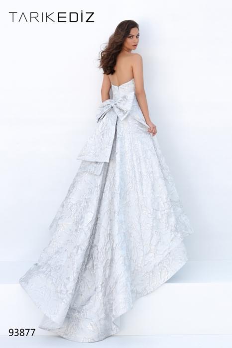 Rochie Tarik Ediz 93877 argintie lunga de seara princess din jacquard 0