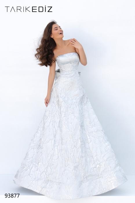 Rochie Tarik Ediz 93877 argintie lunga de seara princess din jacquard 1