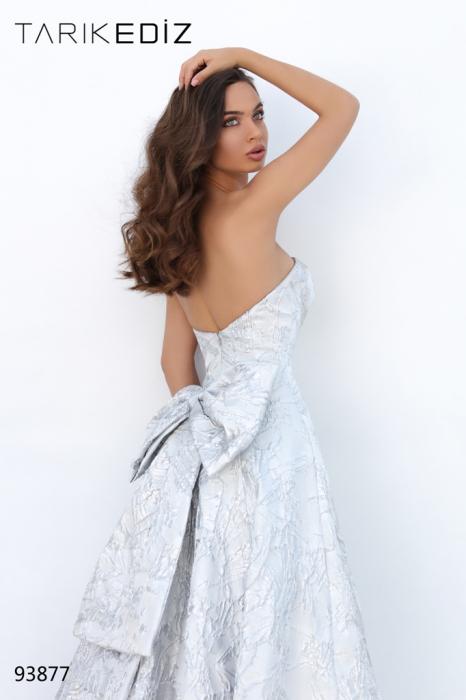 Rochie Tarik Ediz 93877 argintie lunga de seara princess din jacquard 2