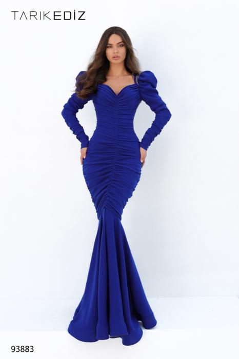 Rochie Tarik Ediz 93883 albastra lunga de seara sirena din crepe 0