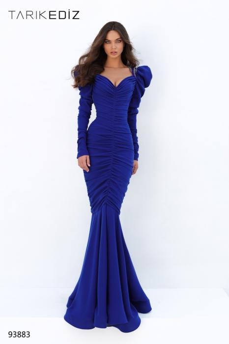 Rochie Tarik Ediz 93883 albastra lunga de seara sirena din crepe 1