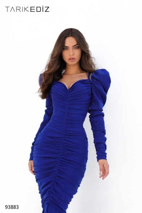 Rochie Tarik Ediz 93883 albastra lunga de seara sirena din crepe [2]