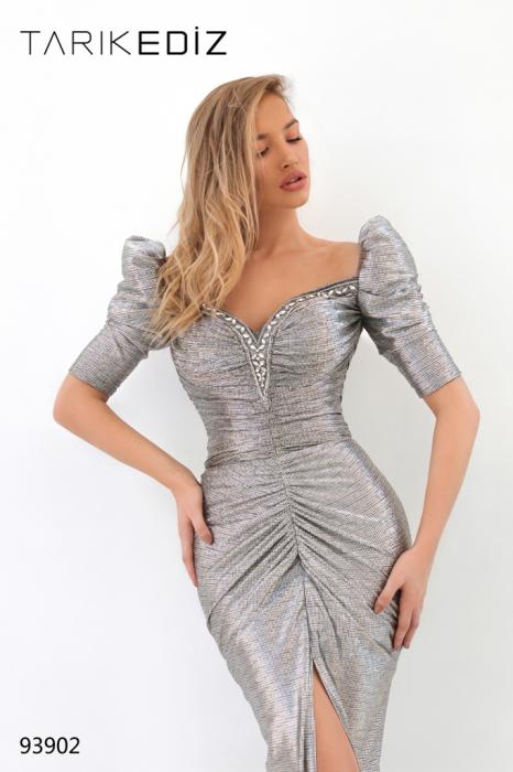 Rochie Tarik Ediz 93902 argintie lunga de seara mulata din jacquard 1