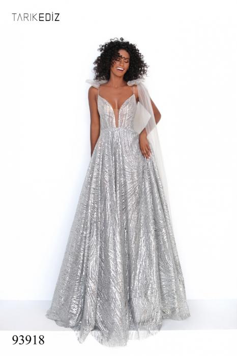 Rochie Tarik Ediz 93918 argintie lunga de seara A-line din glitter 4