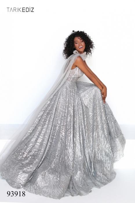 Rochie Tarik Ediz 93918 argintie lunga de seara A-line din glitter 5