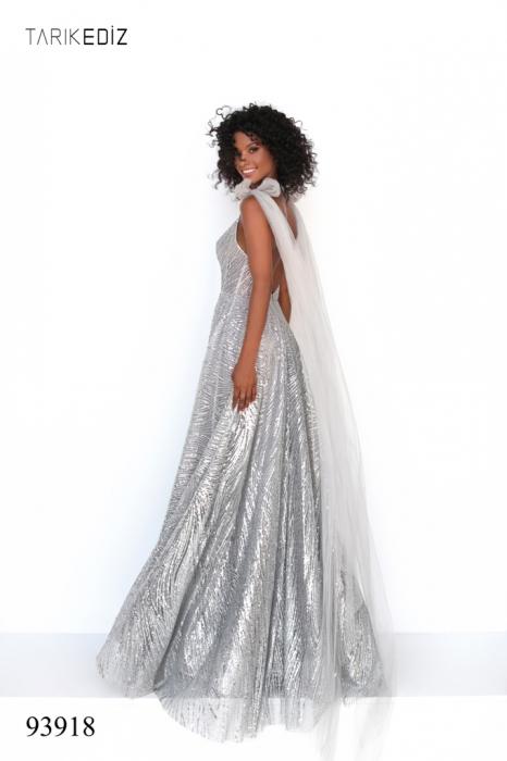 Rochie Tarik Ediz 93918 argintie lunga de seara A-line din glitter 6