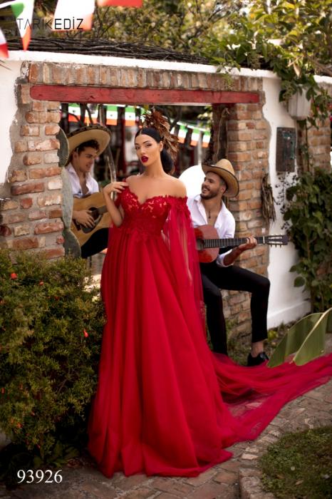 Rochie Tarik Ediz 93926 rosie lunga de seara clos din tulle 0
