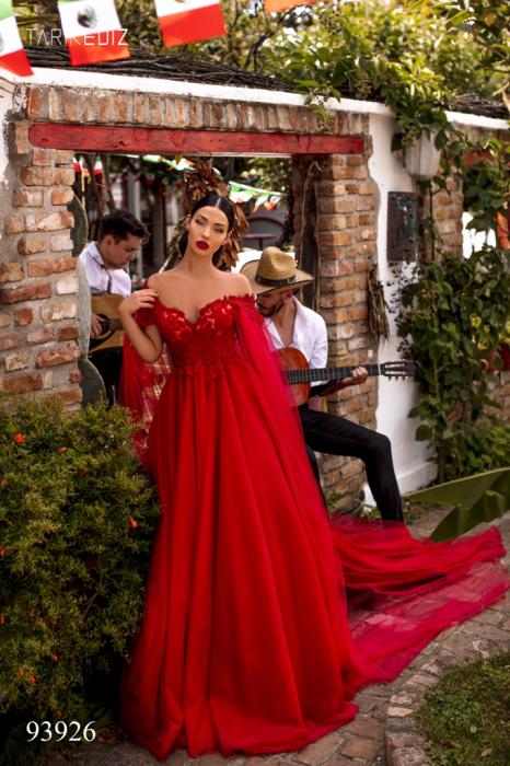 Rochie Tarik Ediz 93926 rosie lunga de seara clos din tulle 1