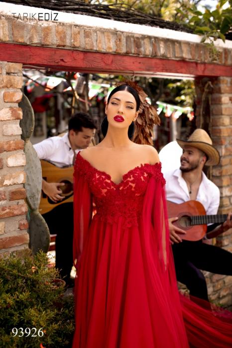 Rochie Tarik Ediz 93926 rosie lunga de seara clos din tulle 2